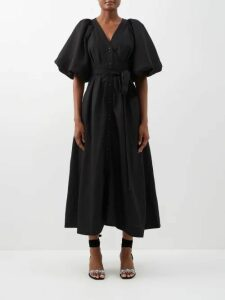 Rochas - Olympic Open Back Silk Satin Midi Dress - Womens - Nude