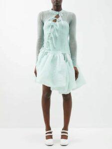 Versace - Asymmetric Silk-satin Slip Dress - Womens - Black