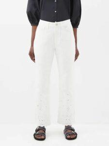 Burberry - Double Waist Mohair Blend Poplin Trousers - Womens - Beige