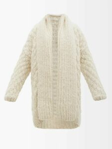 Maison Margiela - Split Shoulder Herringbone Wool Tailored Jacket - Womens - Light Grey