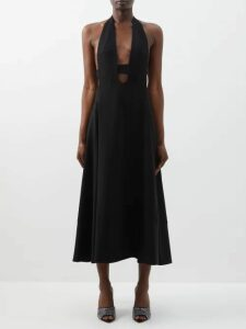 Chopova Lowena - Pleated Leather And Wool Mini Skirt - Womens - Multi