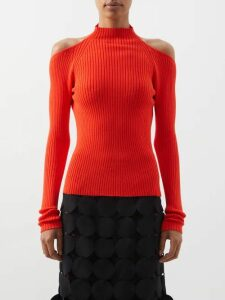 Prada - Sculpted Heel Satin Mules - Womens - Red