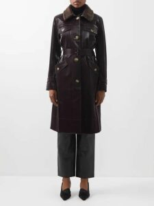 Blazé Milano - Billy Double Breasted Leopard Print Satin Coat - Womens - Red