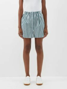 Ganni - Ruffled Gingham Seersucker Top - Womens - Red