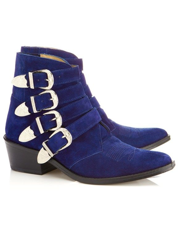 Blue Suede Buckled Boots