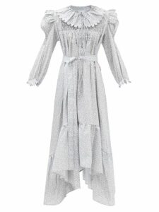 Connolly - Mid Rise Cropped Kick Flare Cotton Trousers - Womens - Navy