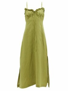 Dodo Bar Or - Enid Floral Print Tiered Cotton Poplin Maxi Dress - Womens - Gold