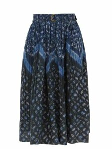 Marni - Tie Front Doodle Print Silk Midi Dress - Womens - Pink Multi