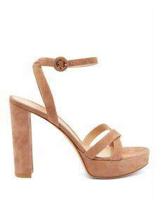 Gianvito Rossi - Poppy 85 Suede Platform Sandals - Womens - Nude