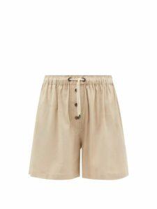 Ganni - Leopard Print Cotton Poplin Shorts - Womens - Leopard