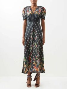 Burberry - Leopard Print Pleated Silk Blend Skirt - Womens - Leopard