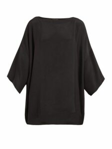 Eskandar - Boat Neck Silk Crepe Blouse - Womens - Black