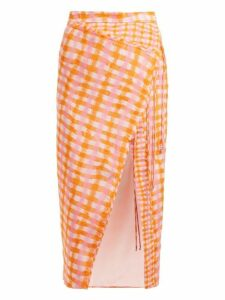 Altuzarra - Cicero Gingham Print Silk Midi Skirt - Womens - Orange Multi