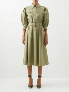 Khaite - Shirred Bishop Sleeve Crepe Top - Womens - Ivory