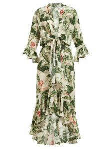 Adriana Degreas X Cult Gaia - Tropical Print Knotted Silk Dress - Womens - Green
