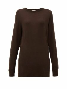 Bottega Veneta - Fine Gauge Cashmere Sweater - Womens - Dark Brown