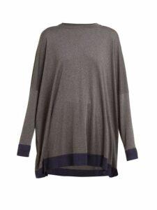Eskandar - Contrast Trim Knitted Silk Sweater - Womens - Grey Navy