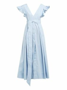 Kalita - New Poet By The Sea Ruffled Cotton Dress - Womens - Light Blue