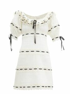 Zimmermann - Honour Lace Insert Pintucked Cotton Mini Dress - Womens - White