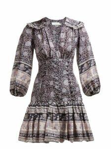 Zimmermann - Amari Paisley Print Ruffled Cotton Mini Dress - Womens - Navy
