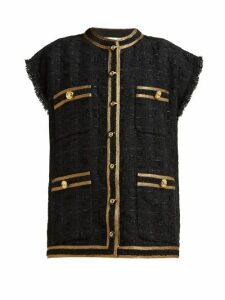 Gucci - Single Breasted Bouclé Tweed Sleeveless Jacket - Womens - Black Gold