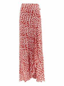 Adriana Degreas - Baccio Lip Print Midi Wrap Skirt - Womens - Red White