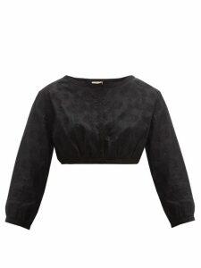 Le Sirenuse, Positano - Jinny Embroidered-cotton Crop Top - Womens - Black