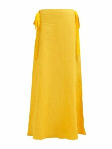 On The Island By Marios Schwab - Nevis Side Tie Linen Poplin Maxi Skirt - Womens - Yellow