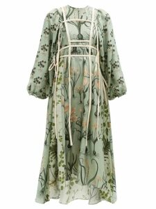 Staud - Pomelo Crudités Print Linen Playsuit - Womens - Blue Multi