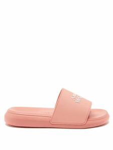 Ganni - Double Strap Leather Slides - Womens - Grey