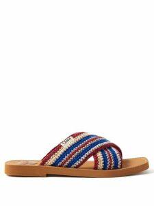 Saloni - Olivia Citrus Print Silk Georgette Midi Dress - Womens - Blue Print