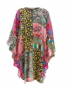 Etro - Floral Print Silk Kaftan - Womens - Pink