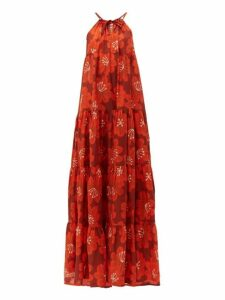 Dodo Bar Or - Dorothy Tiered Floral Print Cotton Maxi Dress - Womens - Burgundy Print