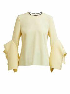 Roksanda - Rana Tiered Fluted Cuff Cady Top - Womens - Light Yellow