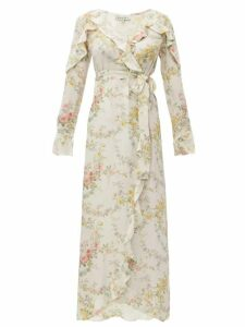 D'ascoli - Bedford Print Silk Crepe De Chine Dress - Womens - Yellow