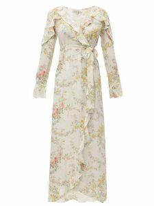 D'ascoli - Bedford-print Silk Crepe De Chine Dress - Womens - Yellow
