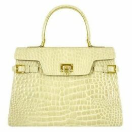 Fontanelli Designer Handbags, Shiny Sand Croco-style Leather Handbag