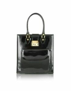 L.A.P.A. Designer Handbags, Black Patent Leather Tote Bag