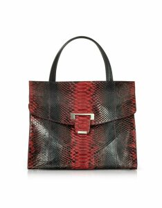 Ghibli Designer Handbags, Python Leather Top Handle Satchel Bag