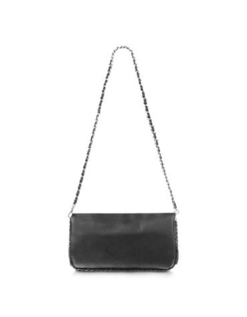 Fontanelli Designer Handbags, Black Leather Baguette Bag