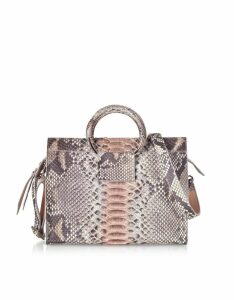 Ghibli Designer Handbags, Pearl Gray and Pale Pink Python Leather Small Satchel Bag w/Metal Handles
