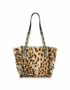Fontanelli Designer Handbags, Calfhair Leopard Print Mini Tote