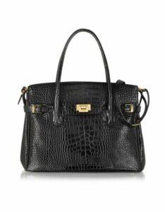 Fontanelli Designer Handbags, Shiny Black Croco Embossed Leather Tote