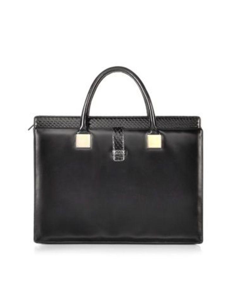 Linda Farrow Designer Handbags, Anniversary Black Ayers and Leather Tote