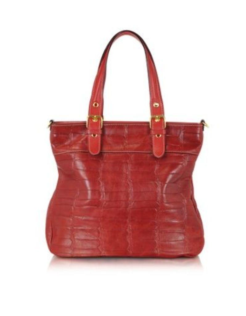 Robe di Firenze Designer Handbags, Red Croco Stamped Italian Leather Tote