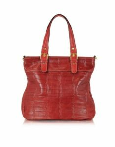 Robe di Firenze Designer Handbags, Red Croco Stamped Italian Leather Tote