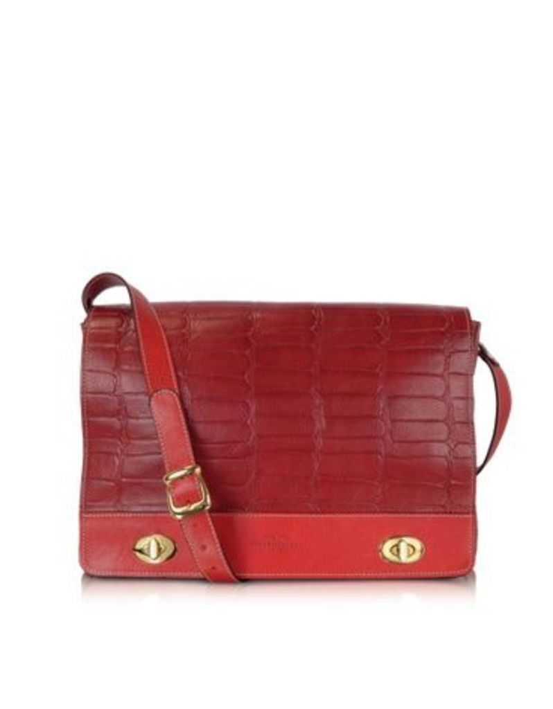 Robe di Firenze Designer Handbags, Burgundy and Red Croco Stamped Italian Leather Shoulder Bag
