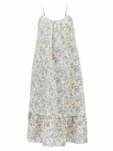 Saloni - Fara Printed Cotton Blend Dress - Womens - Orange Multi