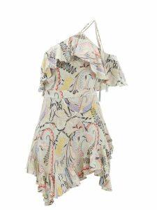 Saloni - Marissa Ruffled Polka Dot Silk Blend Mini Dress - Womens - Pink