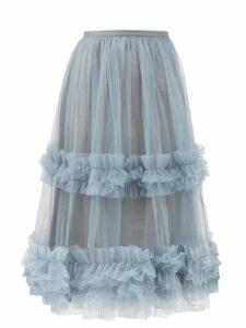 Rebecca Taylor - Ruffled Fil Coupé Wrap Midi Dress - Womens - Black White